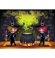 Funny witches with pot vector