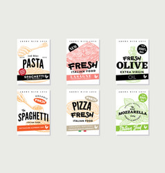 hand drawn italian food brochures vector image vector image