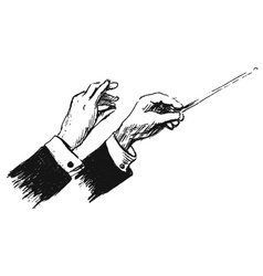 Hand sketch the hands of conductor vector