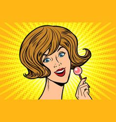 joyful woman and lollipop vector image