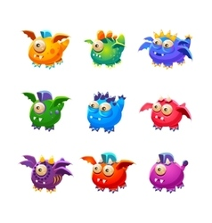 Little alien dragon like monsters set vector