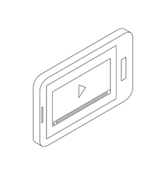 Media player on a phone icon isometric 3d style vector image vector image