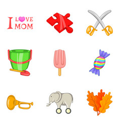 mothers love icons set cartoon style vector image
