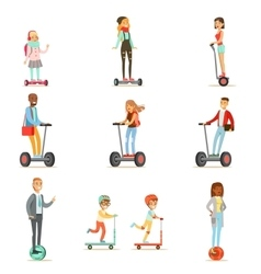 People Riding Electric Self-Balancing Battery vector image vector image