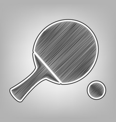 Ping pong paddle with ball pencil sketch vector