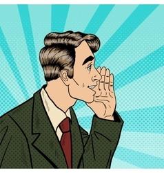 Pop art business man whispering secrets vector