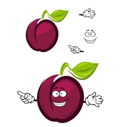 Ripe purple cartoon plum fruit with a green leaf vector image