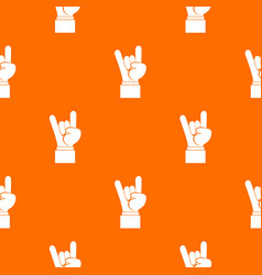 Rock and roll hand sign pattern seamless vector