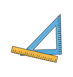 ruler and triangle supply measure geometry vector image vector image