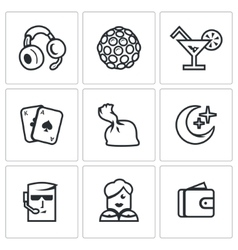Set of Night Club Icons Music Lighting vector image