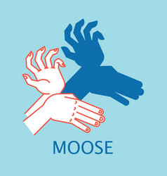 Shadow theater hands gesture like moose vector
