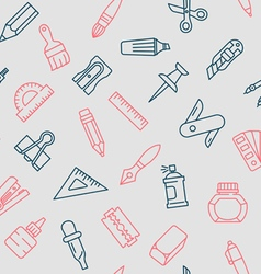 Stationery tools seamless pattern thin line style vector image vector image