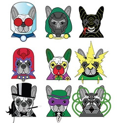Villains french bullldogs icons vector