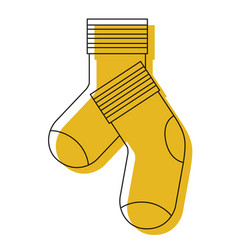 Yellow watercolor silhouette of pair of socks vector