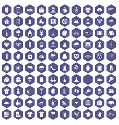 100 clothing icons hexagon purple vector