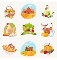 Farm related objects set of bright stickers vector