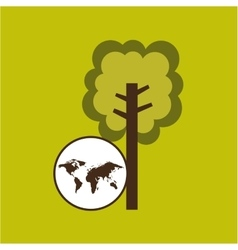 Map earth environment ecological green tree vector