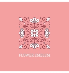 Square floral logo template vector