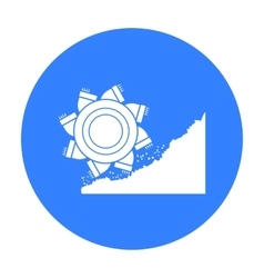 Bucket-wheel excavator icon in black style vector image