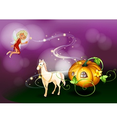 Fairy pumpkin cart vector