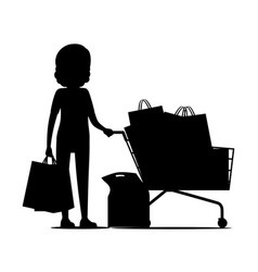 female silhouette with packages near shopping cart vector image