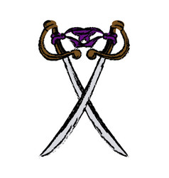 Two cross pirate sword arm dangerous vector