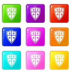 Royal shield set 9 vector