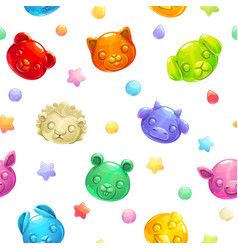seamless pattern with cute gummy jelly animals vector image