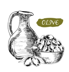 Jug and olives vector