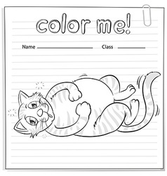 Coloring worksheet with a cat vector