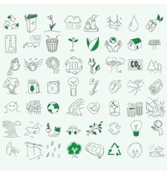 Ecology organic signs eco and bio elements in hand vector