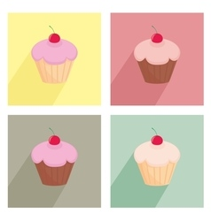 Sweet cherry cupcake flat icon colorful set vector
