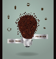 Creative light bulb ideas with coffee beans vector