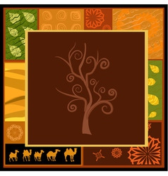 african tree ornament with camels vector image