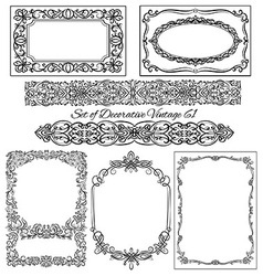 Set of vintage borders and elements vector