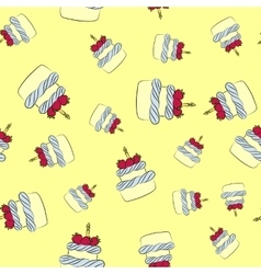 Seamless cream cake pattern with yellow background vector