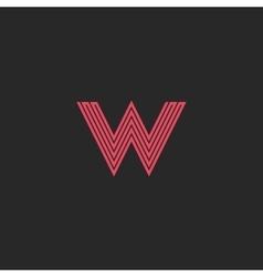 Initial Letter W logo pink line monogram symbol vector image