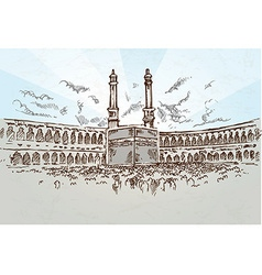 Mecca background drawing vector