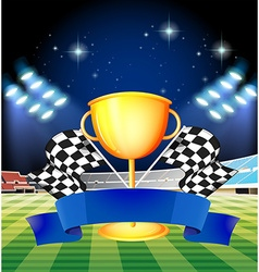 Golden trophy and blue ribbon with stadium vector image