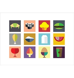 Food color flat icons vector