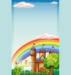 background scene with fairies and unicorn vector image