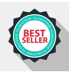 Best seller quality label sign in flat modern vector