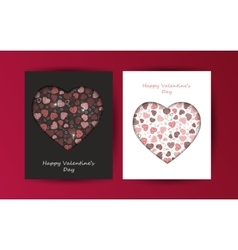 Black and white postcards Valentine Day vector image
