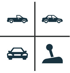 Car icons set collection of stick automobile vector