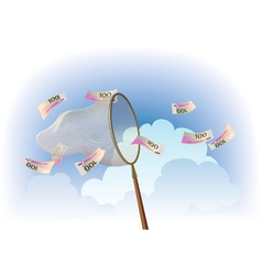 Cash catching vector image