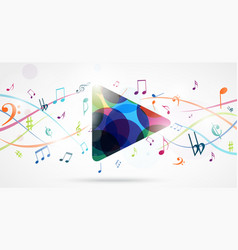 Colorful music notes pattern vector