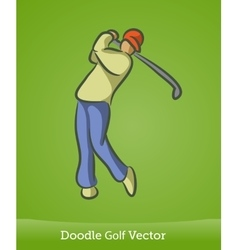 Doodle golf isolated on green background vector