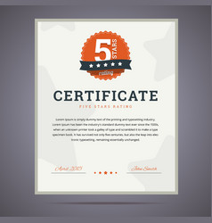 Five stars rating certificate vector image vector image