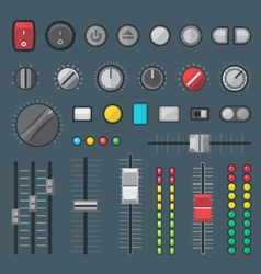 Flat style various audio controls and indicators vector
