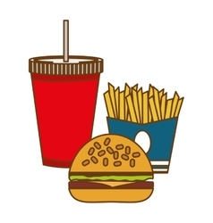 Hamburger french fries and soda fast food vector